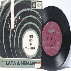 "BOLLYWOOD INDIAN  Lata & Hermanta S.D. BURMAN Shankar Jaikishan 7"" 45 RPM EMI Angel EP 19710"