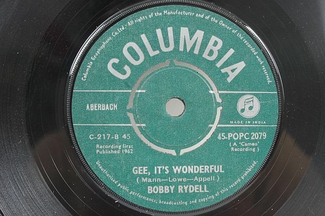 "BOBBY RYDELL Never Dance Again INDIA 1962 7"" 45 RPM"