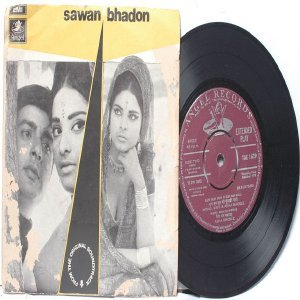 "BOLLYWOOD INDIAN  Sawan Bhadon SONIK OMI Asha Bhosle 7"" 45 RPM EMI Angel PS EP  1970"