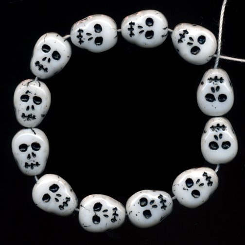 12 Skull Skeleton Beads Czech Glass Awesome