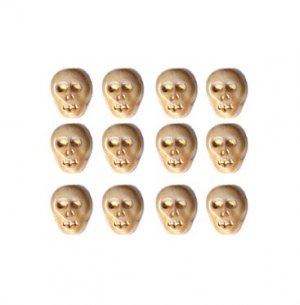 Bone/Ivory Color Skull Skeleton Beads Czech Glass Fun! 25 Pcs