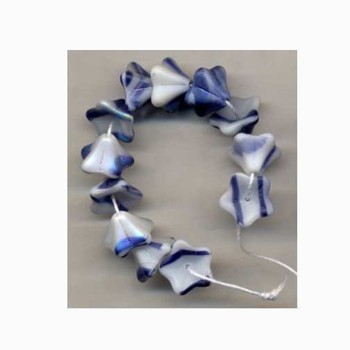 Blue Jeans Blue w White Swirl Czech Glass Flower Beads