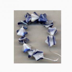 Blue Jeans Blue w White Swirl Czech Glass Flower Beads