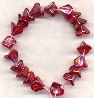 Ruby Red AB Czech 3 Petal Bell Glass Flower Beads 20 pcs