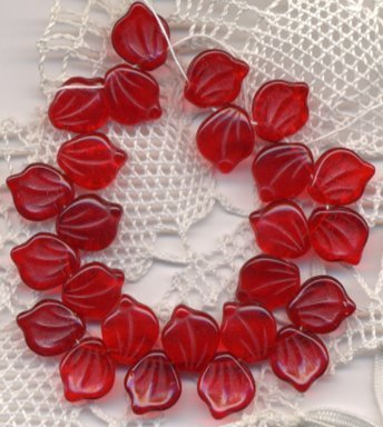 20 pcs Red Czech Glass Leaves Beads 12x15mm