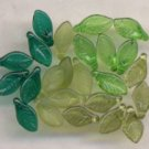 Spring Mix - Green, Teal, Olive, Olive Matt Leaf Glass Be