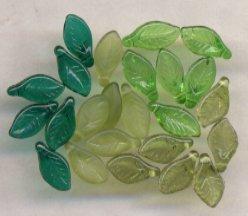 Spring Mix - Green, Teal, Olive, Olive Matt Leaf Glass Be