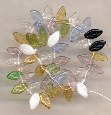 Blue, Pink, Yellow, White, Black, Green Crystal Glass Leaf Beads MIX