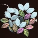 Opaque Robin Egg Blue Czech Leaf Glass Beads 25 Leaves