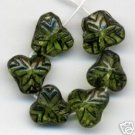 15 Green Fruit Leaves w Dk Vein Inlay Czech Glass Beads NEW!