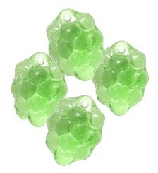Light Green GRAPES GLASS FRUIT BEADS CHARMS Grape Clusters