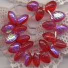 Strawberry Red Semi-Transparent AB Czech Glass Fruit Beads Charms