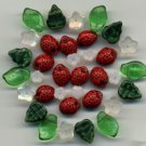 Strawberry Flower Leaves Mix Czech Glass Fruit Beads 36 pcs