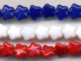 8mm Red White and Blue Glass Pressed Star MEMORIAL DAY MIX