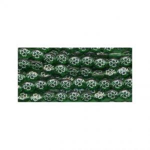 Irish Green w/Silver Outline Shamrock Czech Glass Beads