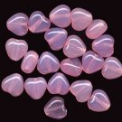 8mm Valentine Pink Opal Hearts Shape Glass Beads 20
