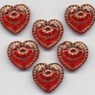 Siam Red w Gold Inlay Hearts Valentine Day Glass Beads