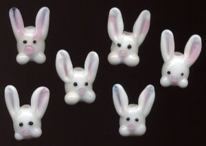 Easter Bunny Rabbit Lampwork Glass Beads 6 Pc