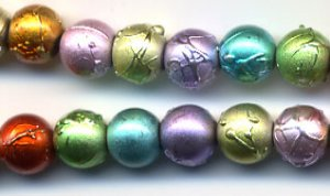 Easter Pastel Spring Colors Drizzle Round Glass Beads