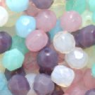 100 pcs Pastel Opal Opaque Fire Polish Faceted Glass Beads 6mm
