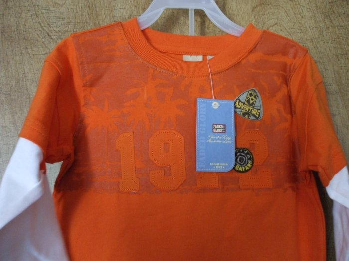 FADED GLORY Outfit Orange Shirt Denim Jeans  4T~NWT
