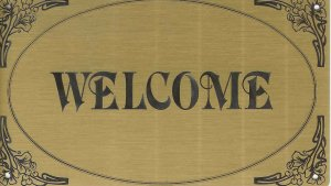 "T&T#45  Brass Door ""WELCOME"" Plaque Sign - NIP"