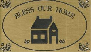 """T&T#45  Brass Door """"BLESS THIS HOME"""" Plaque Sign - NIP"""
