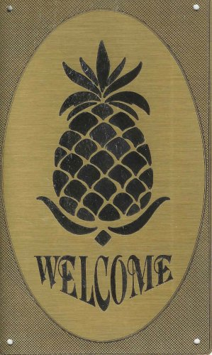 """T&T#45 Brass Door """"Welcome"""" Pineapple Plaque Sign Hawaii"""