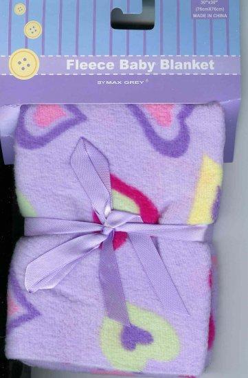FLEECE BABY BLANKET Receiving Purple Hearts Girl