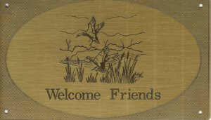 """T&T#45  Brass Door """"Welcome Friends"""" Plaque Sign - NIP"""