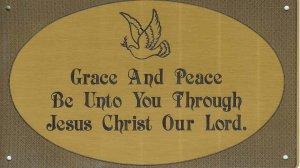 T&T#45 Brass Door (Grace Peace Dove) Plaque Sign ~ NIP