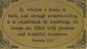 T&T#45  Brass Door (Wisdom Proverbs) Plaque Sign - NIP