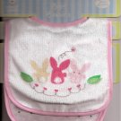 BABY BIB Pair Pink Girl Rabbits Velcro-Close ~ NWT
