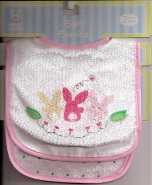 BABY BIB Pair Pink Girl Rabbits Velcro-Close ~ NWT