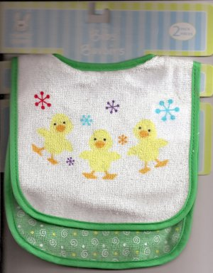 BABY BIB Pair Green Boy/Girl Chicks Velcro-Close ~ NWT