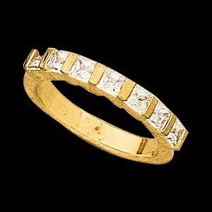 12751 ANNIVERSARY BAND  14K Yellow 7 STONE Polished