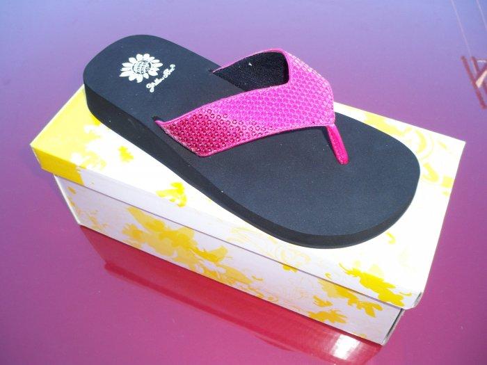Cool Fuchsia Flip Flops from Yellow Box - Size 8.5