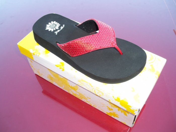 Cool Red Flip Flops from Yellow Box - Size 8.5