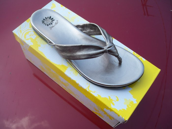 Marsha, Pewter Flip Flops from Yellow Box, Size 6.5