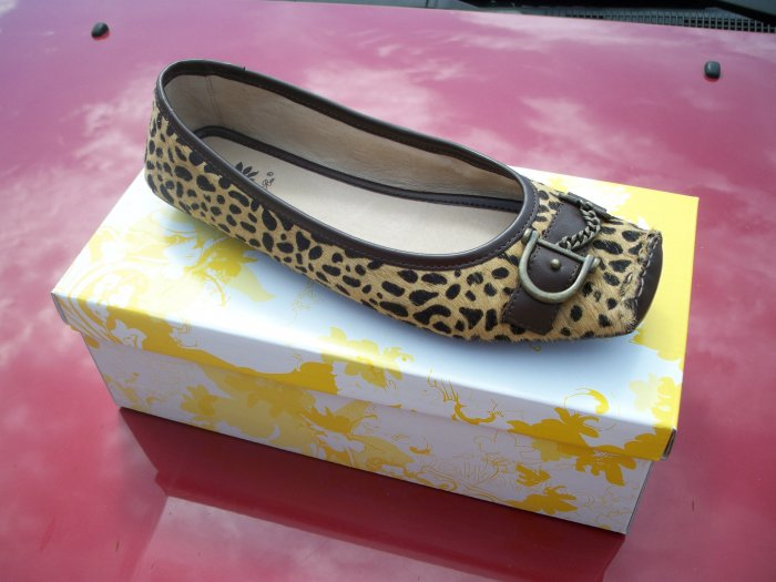 """Bushy"" Leopard Print Flat from Yellow Box - Size 8.5"