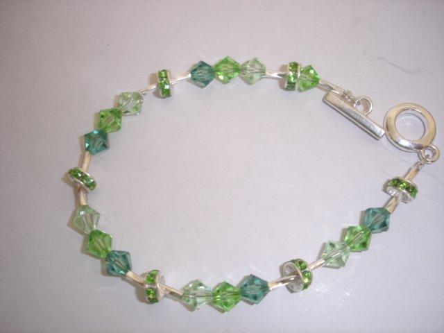 Silver/Crystal Green Bracelet