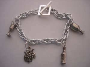 Silver chain with wine Charms