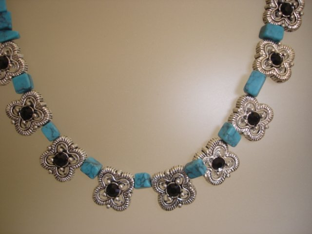 Turquoise with Jet black Crystals