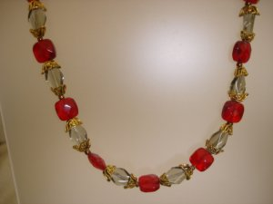 Red Bead/Gold toned Necklace