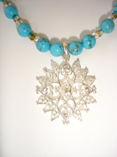 Turquoise and silver Gemstone necklace