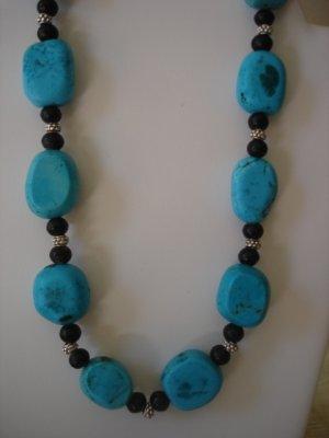 Chunky Turquoise/black Gemstone necklace