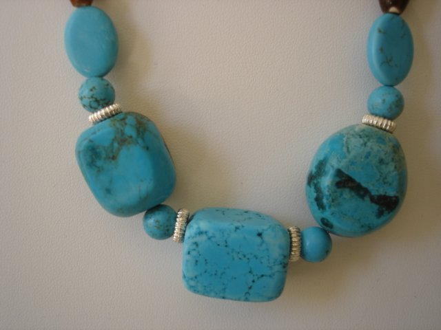 Turquoise/brown Agate Gemstone Necklace