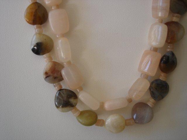 Jasper and Quartz Double stranded Gemstone Necklace
