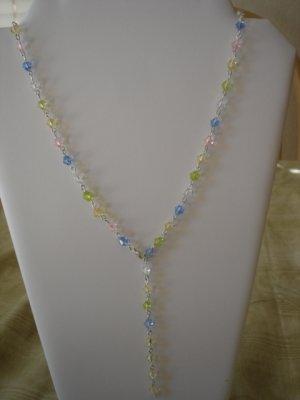 Pastel Crystal bicone Y-shaped necklace