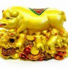 Pigs on Bed of Gold Ingots and Coins